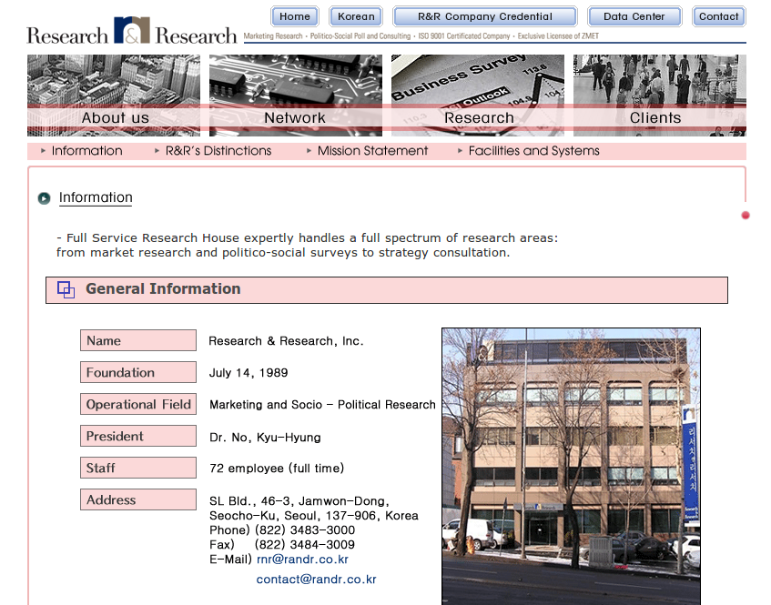 website research and research Korea